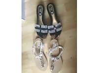 Brand new ladies sandals shoes black size 6 white size 5