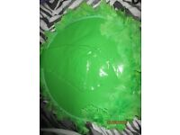 GREEN PVC LARGE WITCH HAT PURPLE WITH FEATHER TRIM NEW WITH TAGS ON GREAT FOR HALLOWEEN