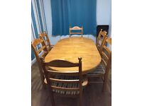 Dining Room Table and 6 Chairs - Solid Wood, extendable