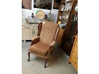 Vintage re-upholstered arm chair Copley Mill LOW COST MOVES 2nd Hand Furniture STALYBRIDGE SK15 3DN