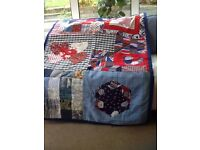 Handmade child,s quilt/play at in blues