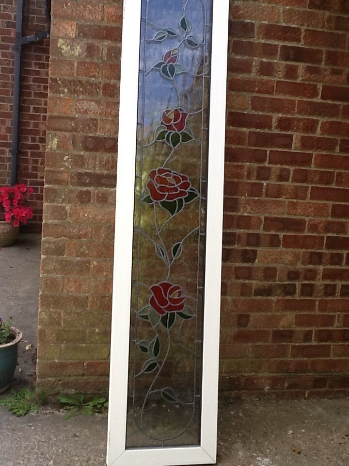 2 White Upvc Door Panels With Stained Gl Rose Pattern Vgc