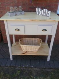 Rustic hand made console table, shelf on the bottom for shoes and two draws.