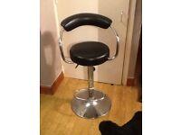 Hydraulic black and chrome stools