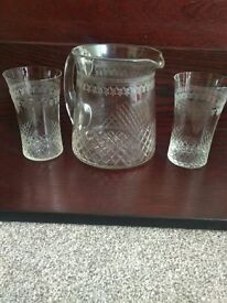 etched glass waterjug and 6 glasses