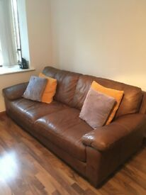 Brown Tan Comfy Leather 3-4 Seater Sofa (GREAT CONDITION DFS ITALIAN LEATHER)