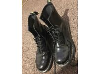 Black shiny leather doc martens