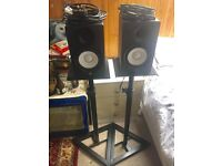 Yamaha HS50 Studio Monitors w/ Monitor Stands & Cables