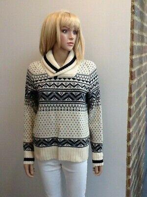 GAP Vintage Style Ivory /Navy Blue Roll Collar Fairisle Wool Blend Jumper Size S