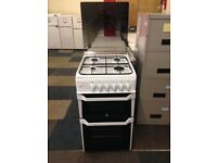 white indesit 50cm gas cooker with glass lid
