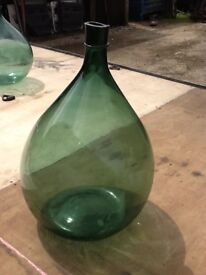 Italian Green Glass Handblown Demijohns/Carbouys