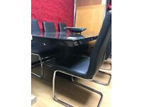 DESIGNER Nero Granite Large Dining Table & 6 Modern Black leather and chrome chairs