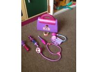 Doc McStuffins doctors bag, musical singing microphone and doll