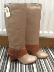 Beige/tan Fly London ladies boots - size 4