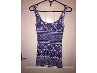 River Island blue and white vest top size 6