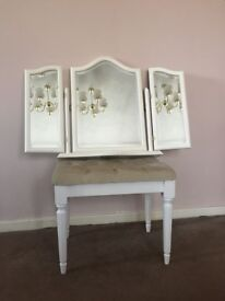 Dressing Table Stools with Triple dressing table mirror White