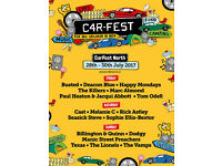 2 x Carfest North Tickets. 3 Day Pass