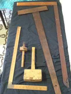 Vintage wooden workshop tools