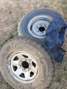 Toyota 60 series split rims and tyres 7.50 X 16 Riddells Creek Macedon Ranges Preview