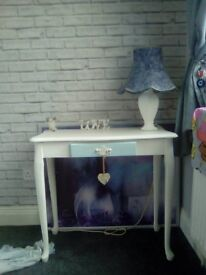lovely shabby chic style side table in white with duck egg draw with vintage lamp