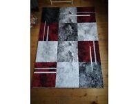 Sahara Red Silver Black Thick Floor Carpet (120cm x 170cm)