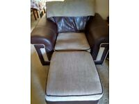 REDUCED! Armchair and Storage Pouffe good condition £65 together
