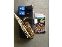 Alto saxophone Evette Buffet Crampon with Yamaha m'piece, case and books