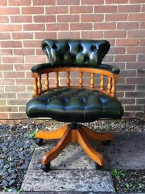 Stunning Chesterfield Captains Chair in Parliament Green Leather with Gas Height Lift