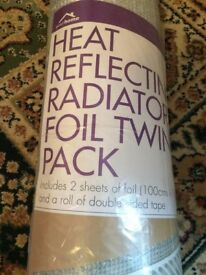 your home heat reflection radiator foil twin pack 100 x 70 cms..........Brand New