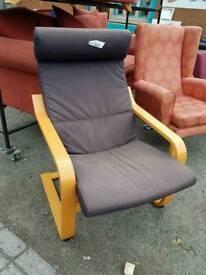 Black fabric lounge chair