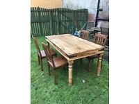 Dark Indian Wood Dining Table and Chairs