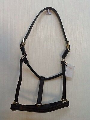 NEW Brown Leather Horse Halter Triple Stitched Fully Adjustable Throat Snap CS