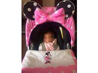 Minnie mouse car seat hood and footmuff