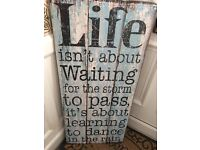 Large distressed wooden style art / canvas / artwork with positive quote