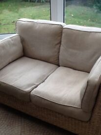 SOFA - 2 seater wicker style plus additional footstool/ seat and coffee table from M&S