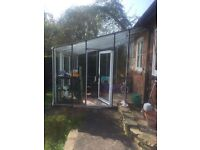 Excellent condition lean-to glass greenhouse
