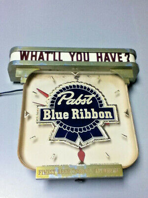 Pabst beer sign vintage metal reverse painted glass ROG lighted bar clock light, used for sale  Shipping to Canada