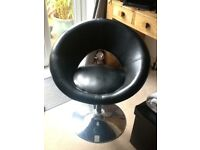 Black Modern Faux Leather Chair with Chrome Base