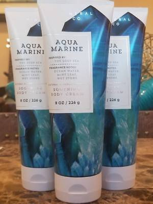 (3 BATH AND BODY WORKS AQUA MARINE SOOTHING BODY CREAM Natural Mineral Complex)