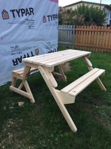 Folding table that turn into a bench