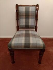 Antique Walnut Edwardian Scroll Back Chair- Newly Reupholstered.