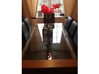 Mark Harris Roma 200cm Solid Walnut and Glass Dining Table with 8 Leather Seats