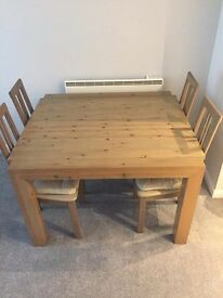 Dining wooden table with 4 chairs