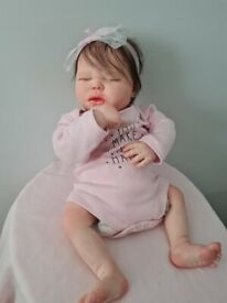 Reborn doll, Realborn Harlow asleep chubby reborn new with coa weighted well
