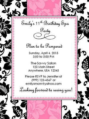 Personalized  Custom Spa Birthday Party Invitation Style B