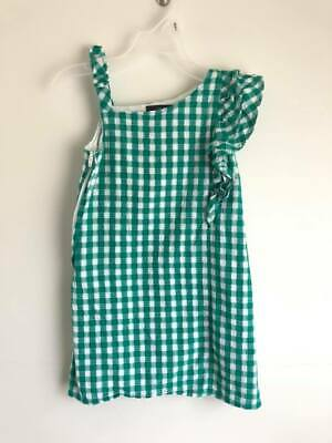 Nautica Girl's Size 4t Green White Gingham Check One Shoulder Sleeveless Dress