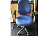 Office Blue Fabric Swivel Chair With Armrests /Very Good Condition