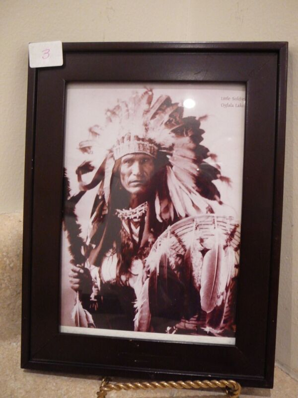 NATIVE AMERICAN INDIAN CHIEF 5X7 FRAMED SEPIA PHOTO LITTLE SOLDIER OGLALA LAKOTA