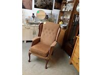 Vintage wing back arm chair Copley Mill LOW COST MOVES 2nd Hand Furniture STALYBRIDGE SK15 3DN