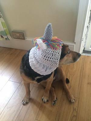 handmade crochet unicorn dog hat snood for your dog. Pug, hat Costume.